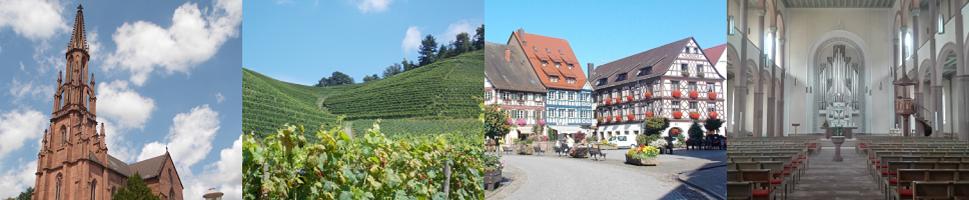 Quelle: Bilder aus der Region Offenburg: Stadtkirche Offenburg; Weinberge bei Ortenberg; Marktplatz Gengenbach; Innenraum Kirche Schiltach Foto: ulf